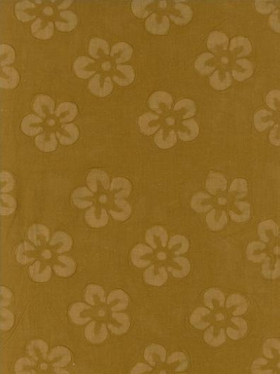 Cotton Embossed: Large Flowers on Gold