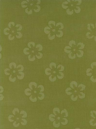 Cotton Embossed: Large Flowers on Sage
