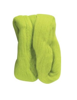 Natural Wool Roving - Lime Green
