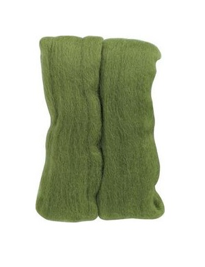 Natural Wool Roving - Moss Green