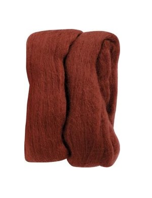 Natural Wool Roving - Rust