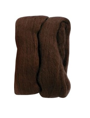Natural Wool Roving - Brown